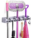 SKYFUN (LABEL) Plastic 2 In1 5 Slots and 6 Hooks Wall Mounted Magic Mop Broom Sticks Hanger Stand Organizer Holder (Multicolour)