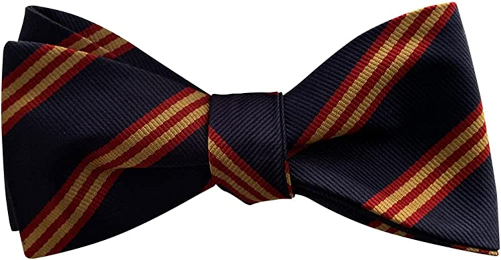 Mens Navy Gold Red Stripes Casual Formal Self-Tie Polyester Bow Tie Adjustable Length Bowtie