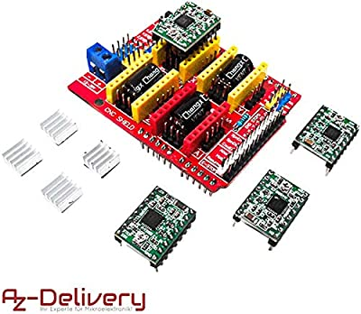 AZDelivery CNC Shield V3 Development Board Bundle with Set of 4 A4988 Stepper Motor Drivers for 3D Printer and Arduino including eBook