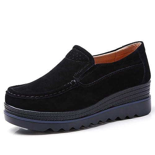 7c17942a553 HKR Women Platform Loafers Comfort Ladies Moccasins Wedges Slip On Suede  Wide Work Shoes
