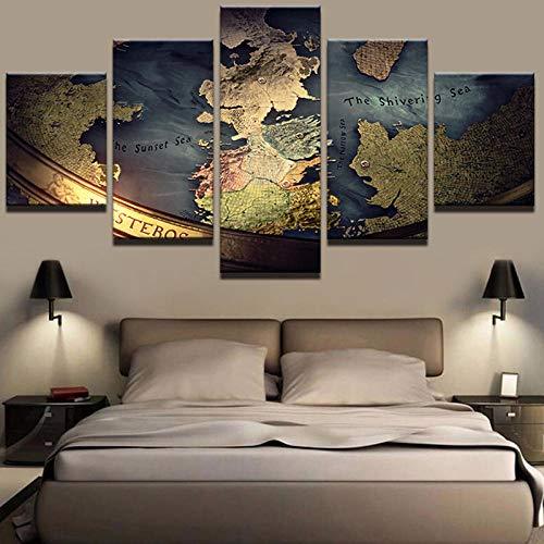 65Tdfc Decoración De Pared Decoración Moderna Lienzo Pintura Marco Inicio Dormitorio Arte De La Pared 5 Piezas Juego De Tronos Mapa Imágenes HD Impreso Cartel Modular