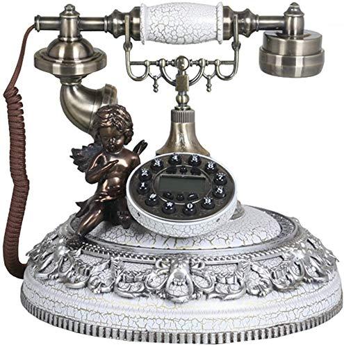 LLKK JNYTD - Teléfono clásico antigüo, esfera de resina con botón de marcado retro para el hogar fijo