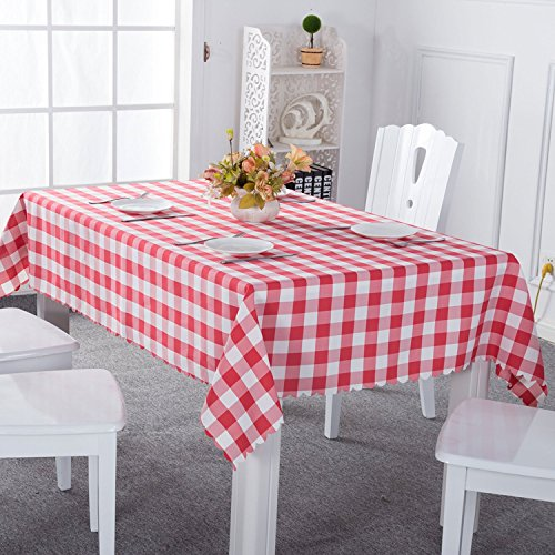 Moldiy Polyester Fabric Large Dining Party Picnic Red Checkered Tablecloth, Indoor&Outdoor, Rectangular