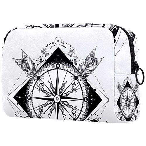 Cosmetic bag Womens Waterproof Makeup Bag For travel to carry cosmetics change keys etc Compass And Crossed Arrows Tattoo