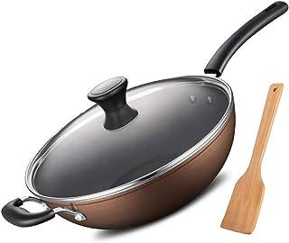 Yjdr Cuisine standard Wok Pan avec couvercle Premium et Bonus Bamboo Spatule - épais 13 pouces en alliage Poêle à frire av...
