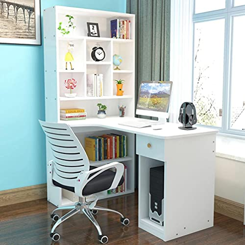 Desktop Computer Desk with Hutch and Bookshelf, L Shape Home Office Gaming Writing Table, Student Study PC Laptop Tables Workstation with Storage Shelf, Wood Desk Bookcase Combination (White)
