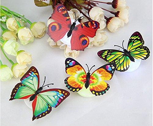 Creative Glow LED Bunte Schmetterling Wanddekoration Licht Party Licht Dekorative Beleuchtung Nachtlicht mit Saugnapf Wandleuchten Nachtlicht (15pcs)