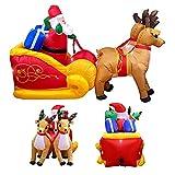 SFJRY® 5.9 pies Papá Noel Inflable de Navidad en Trineo con Dos Renos Luz LED Lindo Juego de Muñecas para Decoración de Patio para Navidad