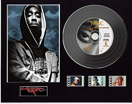 Tupac 2Pac - Espositore CD effetto vinile nero o oro e 3 celle (disco nero, All Eyez On Me Unframed)