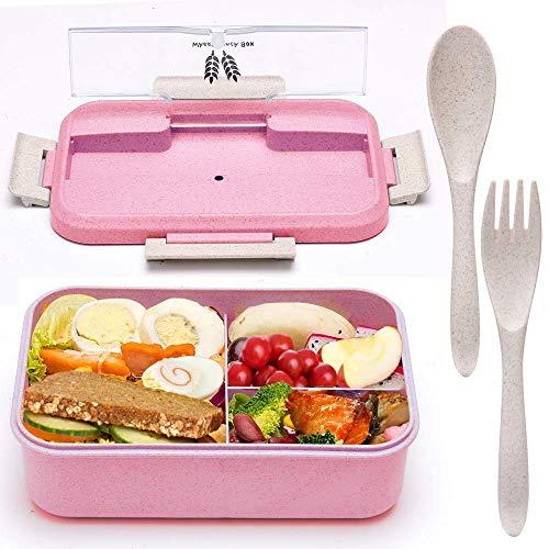 ASANMU Kinder Lunchbox, Bento Box mit 3 Fächern und Besteck Auslaufsicher Lunchbox für Kinder & Erwachsene Brotdose für Schule Reisen Brotzeit Dose für Spülmaschine Mikrowelle & Gefrierschrank (Pink)