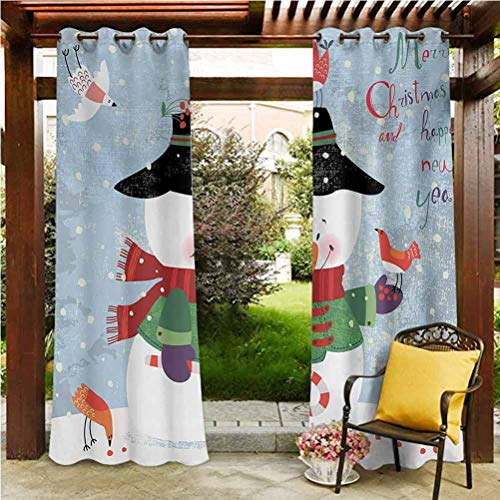 Snowman Outdoor Porch Curtains Outdoor Summer Drapes for Pergola/Garden Christmas and New Year Theme Lovely Snowman with Birds Candy Cane Grungy Backdrop Multicolor 118'W by 95'L(K299cm x G241cm)