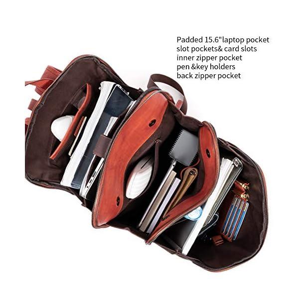 Womens Backpack Purse Vegetable Tanned Full Grain Leather 15.6 Inch Laptop Travel Business Vintage Large Shoulder Bag 4
