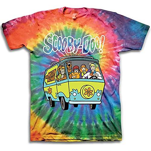 Scooby Doo Mens Throwback Shirt, Shaggy, Velma Tee - Throwback Classic T-Shirt (Multi Tye Dye, X-Large)