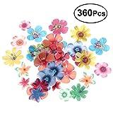 BESTONZON - 360 piezas comestibles de flores para tartas de boda, fiesta de cumpleaños, decoración de alimentos (0,6 mm de grosor)