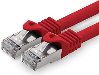 0,5 m - röd - 1 stycke CAT.7 nätverkskabel patchkabel SFTP PIMF LSZH Gigabit Lan-kabel 10Gb s cat7 raw-kabel med RJ45-kont...