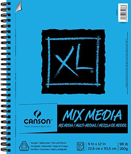 Canson 100510927 XL Series Mix Papierblock, schwer, feine Textur, schwere Größe für nasse und trockene Medien, seitliche Drahtbindung, 44,5 kg, 22,9 x 30,5 cm, 60 Blatt, 1er-Pack, Mehrfarbig
