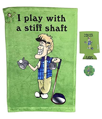 Giggle Golf Lustiges Golf-Handtuch, Pokerchip und Dosenkühler