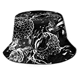 Mid Century Modern Floral Black and White Unisex Fashion Print Bucket Hat Summer Fisherman Cap Packable Outdoor Sun Hat Hiking, Beach, Sports