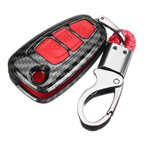 YONGYAO Kit de Cubierta de Cubierta de Llavero de Fibra de Carbono Control Remoto para Ford Ranger C-MAX Focus Galaxy - Rojo