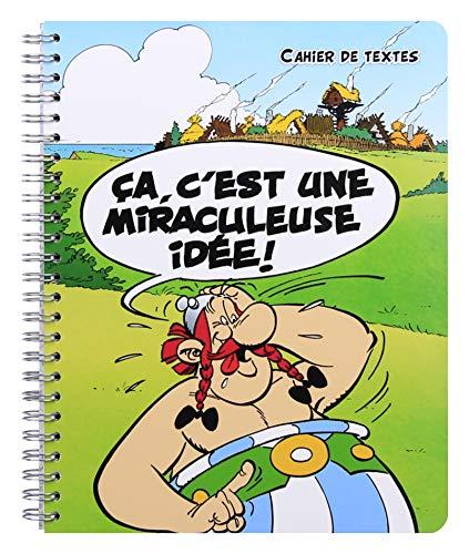 Clairefontaine 812914C - Un cahier de texte à spirale ''Astérix Les Gaulois'' 164 pages 17x22 cm grands carreaux avec pages BD, couverture carte pelliculée visuel aléatoire