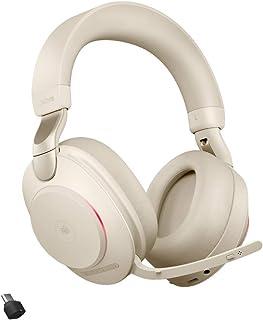 Jabra Evolve2 85 Wireless PC Headset – Noise Cancelling Microsoft Teams Zertifizierte Stereo Kopfhörer mit langer Akkulaufzeit – USB C Bluetooth Adapter – Beige