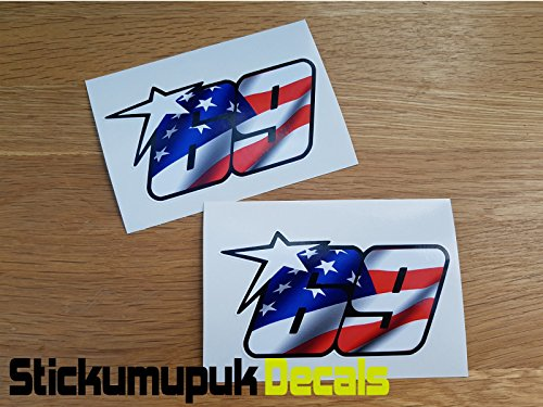 2 x USA Nicky Hayden Stickers Superbike MotoGP Moto GP 69 Helm/Scherm medium formaat 100mm - kleur Gedrukt Vinyl Auto Sticker/Decal Free P+P