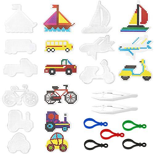 Stiftplatte für Bügelperlen, Bügelperlen Platten, Stiftplatten Transparent, Steckperlen Platte Set, 9 Musterschablonen mit 9 bunten Papiervorlagen, mit 5 Schlüsselbund und 2 Weiße Pinzette