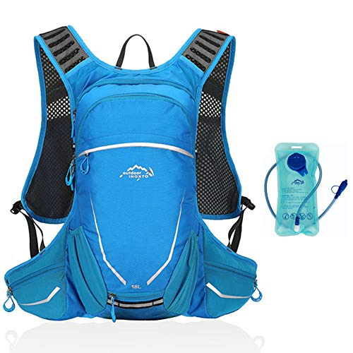 LHY Hydration Backpack Pack, With 1.5L BPA-Free Bladder, Cycling Backpack, Adjustable Padded Shoulder Chest Waist Straps, For Running, Hiking, Cycling,B
