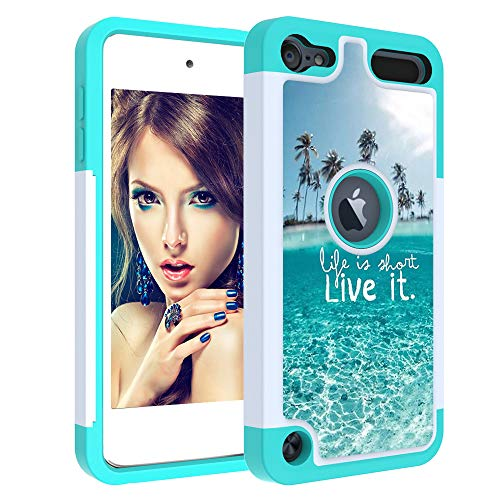 iPod Touch 7 Case iPod 6th Case IQD Girls Hard Shell Drop Silicone Protection Cover Dual Layers Heavy Duty for Apple iPod Touch 7 6 5th Generation The sea
