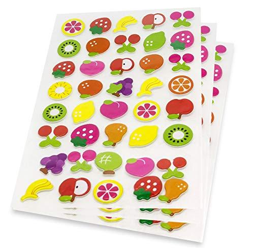 Früchte 3D Sticker Zitrone Kirschen Kiwi Birne Banane Apfel Aufkleber 120 Niedliche Tiere Fotoalbum Scrapbooking Tagebuch Notizbuch Kalender Basteln DIY Handlettering