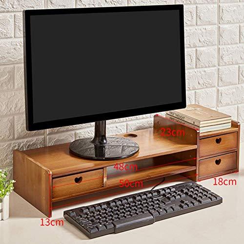 YLCJ tafelmonitorhouder riser, monitor van bamboehout, riser printer, voor mobiele telefoon, tv, organizer, kantoor, van hout, met organizer, voor desktops
