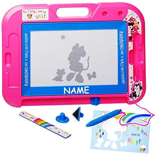 alles-meine.de GmbH 2 Stück _ Zaubertafeln / magische Maltafeln - Disney - Minnie Mouse - incl. Name - mit 2 Stempel - Zeichentafel Lerntafel - Magnet Tafel - Kinder / wisch & we..