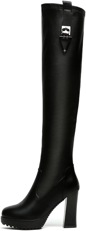 Lusam feeling Women's Cambridge Knee-High Wide Calf High Heel Boot
