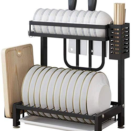 ACUIPP Drain-Rack - Edelstahl-Geschirrablassständer, Halterung 2-Layer-Eck-Rack, Schwarz