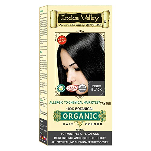 Indus Valley 100% Botanical 100% Organic Indus Black Natural Hair Dye for Sensitive Skin, Pregnant women, Lactating women & For Allergy Sufferers- 120 gm