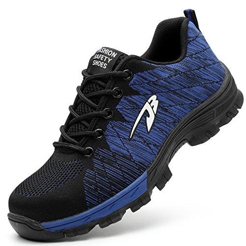 COOU Zapatillas de Seguridad para Hombre Ligeras S3 Calzado de Trabajo para Comodas (42 EU, Style 536 : Blue)