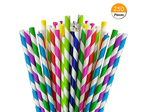 Yunko 250pcs Charmed Rainbow Stripe Paper Straw for Carious Drinking Decorations Parties Birthday Parties Weddings etc
