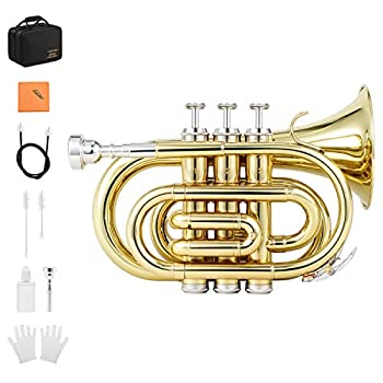Eastar Pocket Trumpet B Flat Brass Bb Pocket Trumpet with Valve Oil Mouthpiece 7C Cleaning Cloth Hard Case Gloves Full Kit Gold Lacquer ETR-330