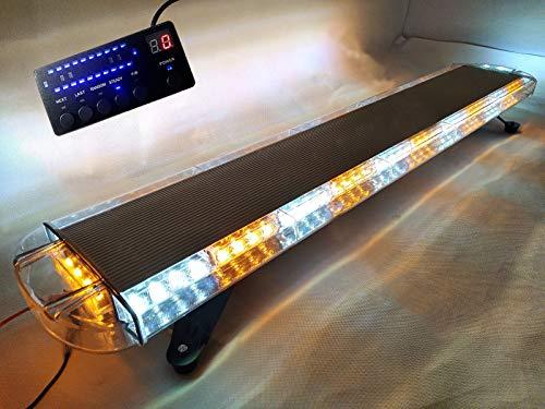 Barre de signalisation à lumière stroboscopique ambre et blanche, 88 LED, 88 W, 12/24 V, 120 cm environ