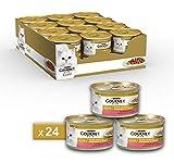 Gourmet Gold Alimento para el Gato Dados de Salsa con Trucha y Verduras, 85g–Pack de 24Unidades