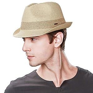 帽子 メンズ 大きいサイズ 麦わら帽子 ハット むぎわら ストローハット パナマハット 紳士用 中折れハット 夏 折りたたみ おしゃれ パナマ帽 ゴルフ uvカット 57 58cm ベージュ
