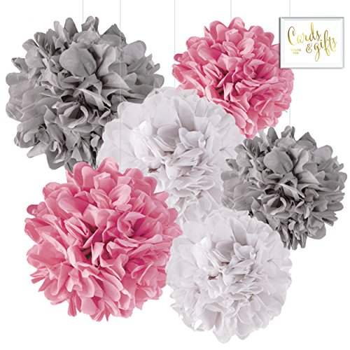 Andaz Press Hanging Tissue Paper Pom Poms Party Decor Trio Kit with Free Party Sign, White, Pink, Gray, 6-Pack, For Elephant Baby Shower Decorations