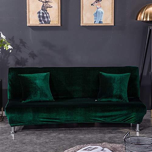 Monba Sofabezug, einfarbig, Fuchs, Samt, volle Abdeckung, faltbar, ohne Armlehne, Samt, dunkelgrün, XL:195-225cm