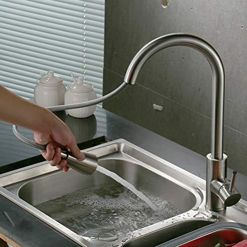 Grifo de agua fría caliente, grifo de agua de conveniencia Estilo extraíble Estructura de acero inoxidable para el hogar