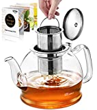 STNTUS Glass Teapot, 40 oz. / 1200 ml Teapot, Glass Tea Pot for Loose Tea, Glass Teapot with...