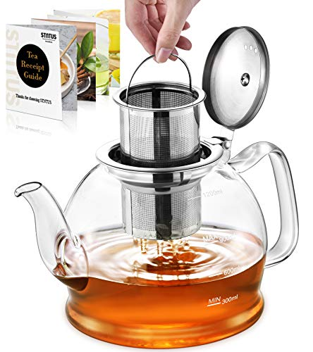 Glass Teapot, 1200 ml Tea Pot, STNTUS Teapot, Glass Teapot with Infuser, Borosilicate Teapot with Infuser for Loose Tea, Teapot with Stainless Steel Strainer for Loose Tea, Teapot for 4-6 Cups