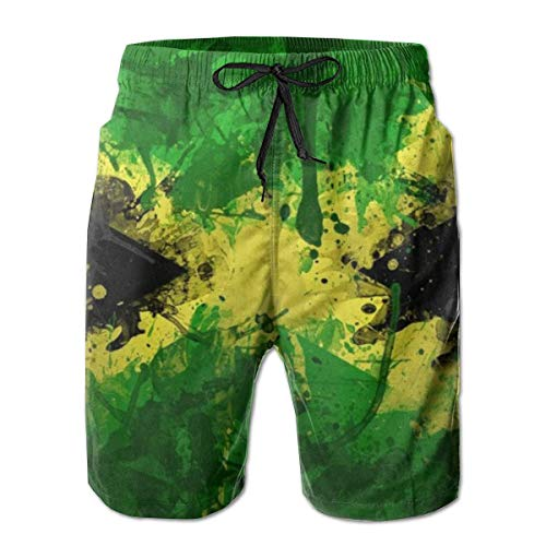 Quecci Badehose Herren Freizeit Short Urlaub Short Schnelltrocknend Badeshorts,Men Board Shorts Swim Trunks Jamaica Flag Novelty Running Beach Summer with Pockets