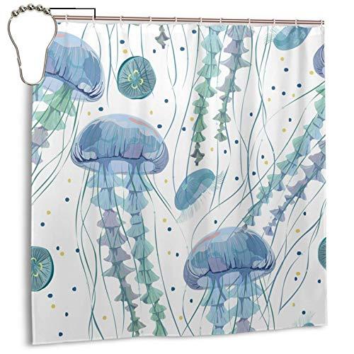 N/W Duschvorhänge mit weißem Hintergr& für Badezimmer, leuchtender Stoff, Ozean, transparent, Qualle, wasserdicht, mit 12 Haken, 183 x 183 cm