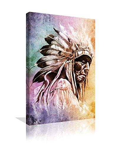 American Indians Printing Art Canvas Paintings Printing Poster Photos Flower Wall Art Picture For Living Room Self Portrait Home Decor artwork Wooden Framed Ready to Hang (16''Wx24''H, Artwork-07)