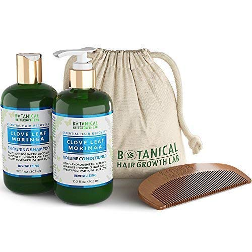 BOTANICAL HAIR GROWTH LAB - Shampoo and Conditioner Gift Set - Clove Leaf Moringa - Essential Hair Recovery - Scalp Balancing/Revitalizing - For Hair Loss Prevention Alopecia Postpartum DHT Blocker